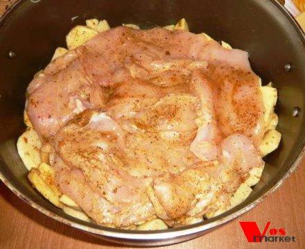 Мясо по французски из курицы с картошкой в мультиварке рецепт с пошагово
