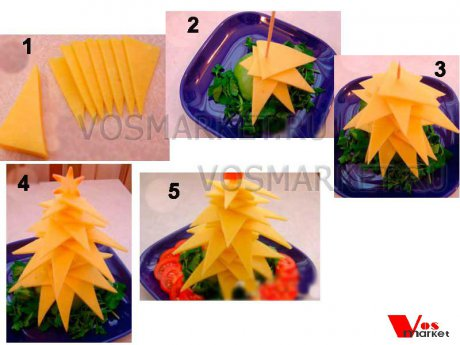 Пошаговые фотографии приготовлении ёлки из ломтиков сыра