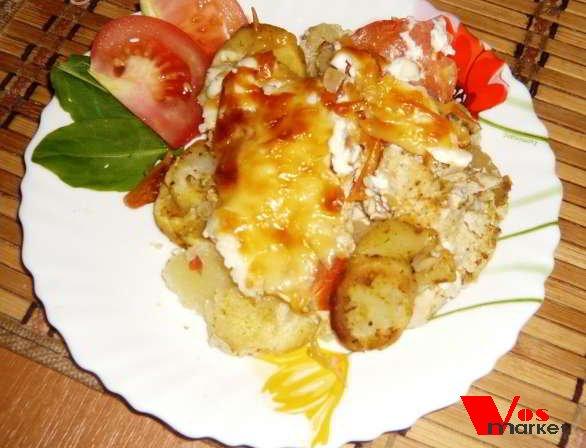 Курица по-французски с картошкой и грибами с фото