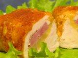 Фото готового блюда: Куриные рулетики с ветчиной