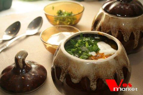 Суп с домашними пельменями в горшочке