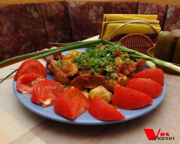 Бычьи яйца с овощами