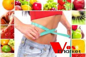 изображение фруктов и овощей вокруг человеческого тела