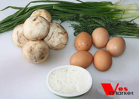 Грибы, яйца и зелень