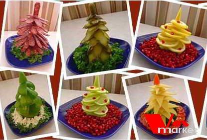 Красивые съедобные ёлки из фруктов и овощей