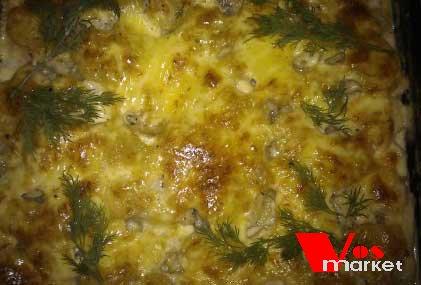 Запеченная рыба с овощами и сыром в духовке