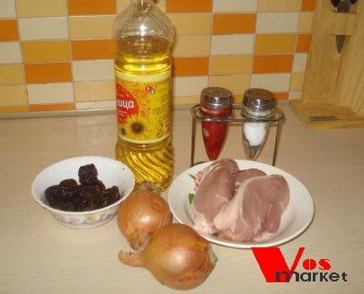 Ингредиенты для приготовления мясных трубочек с черносливом