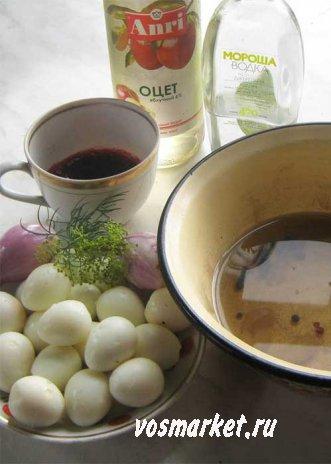Ингредиенты маринованных перепелиных яиц