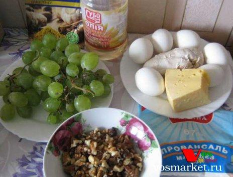 Продукты для приготовления салата Тиффани