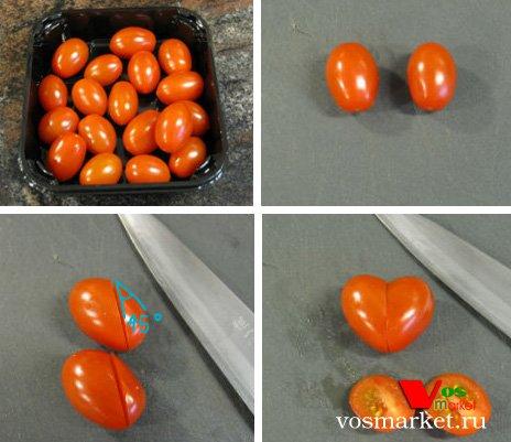 Пошаговые фотографии нарезки сердечек из помидоров