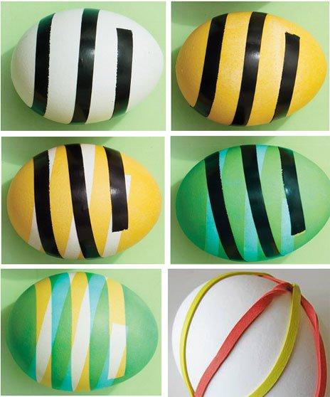Полоски на пасхальных яйцах