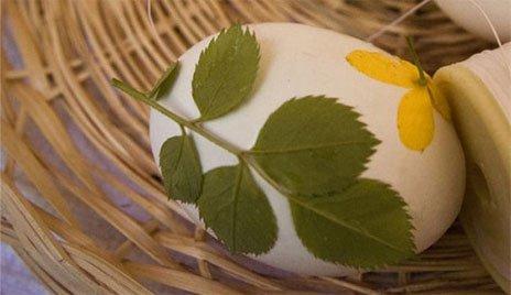 Для узора кладите на яйцо зелень