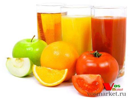 Свежо выжатые фруктовые, цитрусовые и овощные соки