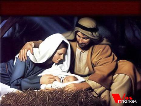 Новорожденный Христос с родителями