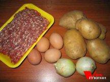 Ингредиенты для приготовления запеканки с картошкой и фаршем