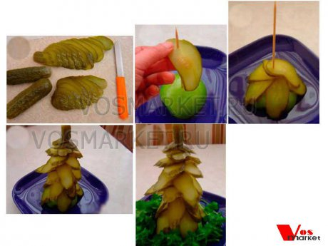 Пошаговые фотографии приготовления ёлки из маринованных огурцов и яблоки