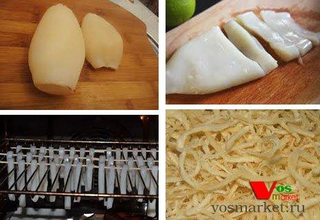 Этапы подготовки тушки кальмара к сушению в духовке