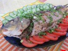 Фото готового блюда: Карп с гречкой в духовке