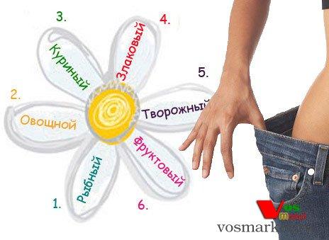 Схема шестидневного рациона диеты в виде лепестков ромашки