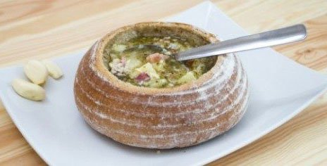 Чесночный суп в горшочке