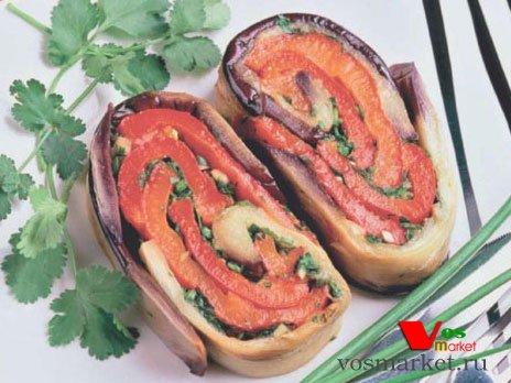 Фото готового блюда: Рулет из баклажанов и перца