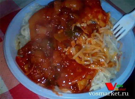 Главное фото рецепта Спагетти с беконом и лечо