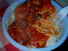 Порция спагетти с лечо