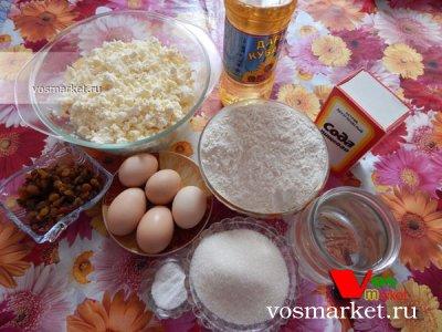 Ингредиенты для приготовления блинов с творогом и изюмом