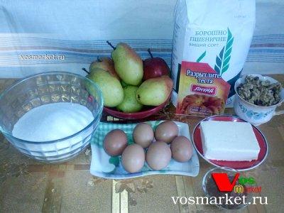 Ингредиенты для приготовления пирога из груш с какао