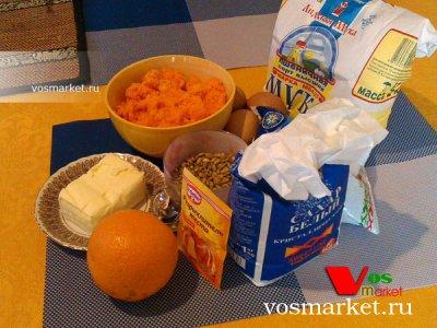 Ингредиенты для приготовления морковного торта с тыквой