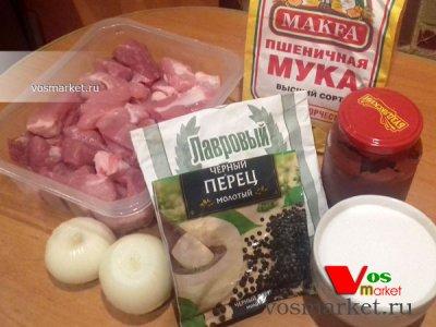 Ингредиенты для приготовления гуляша из свинины