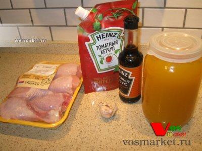 Ингредиенты для рецепта голень в медово-соевым маринаде