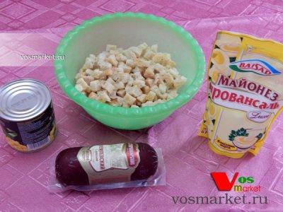 Ингредиенты для рецепта салат с сухариками
