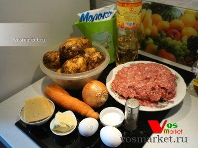 Ингредиенты для приготовления картофельной запеканки в духовке