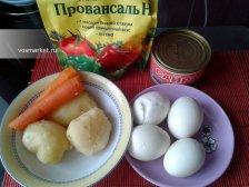Фото к блюде Салат 'Мимоза' с консервами