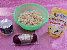 Фото приготовления Простой салат с сухариками