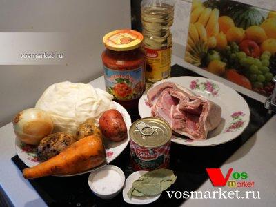 Ингредиенты для приготовления супа из фасоли с говядиной
