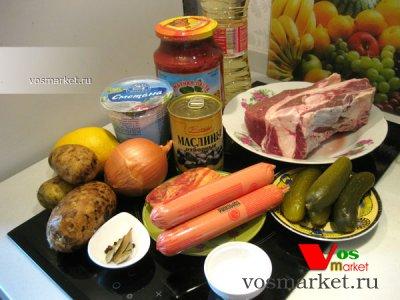 Ингредиенты для приготовления мясной солянки