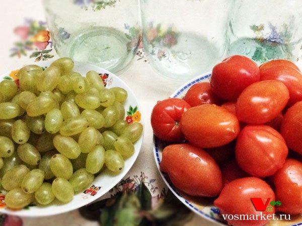 Фото Маринованные помидоры с виноградом шаг 3