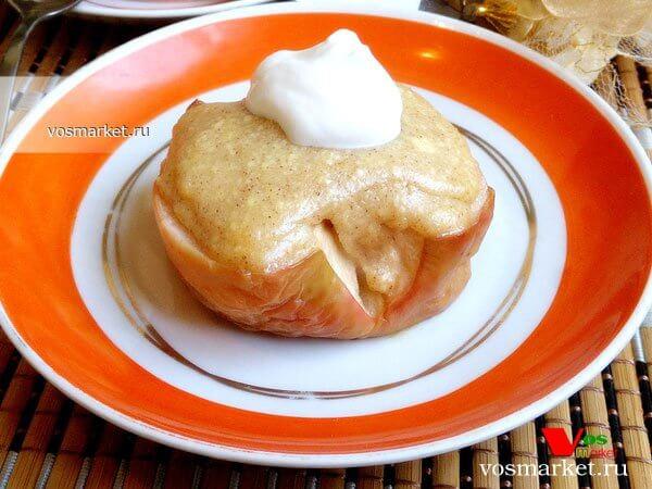 Фото Печеные яблоки с творогом шаг 8